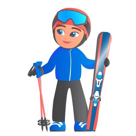 Cute cartoon boy in a tracksuit of a skier. On the head there is a helmet and a mask, in the hands of skis and sticks. Vector isolated illustration. Illustration