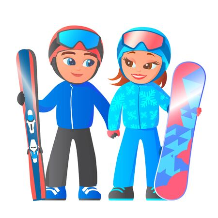 Two cartoon happy skiers. A boy stands with skis and sticks. Girl with a snowboard. Both in helmets. Vector isolated illustration.