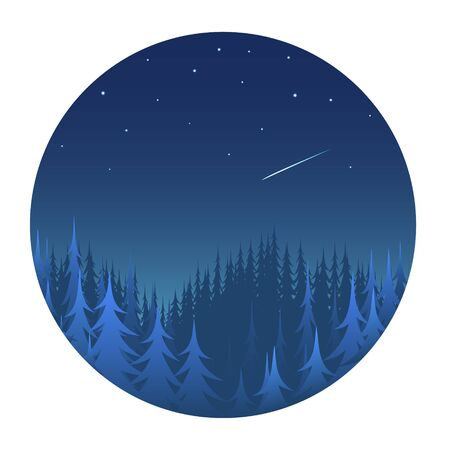 Night coniferous forest with a starry sky. Blue silhouettes of pines and firs.