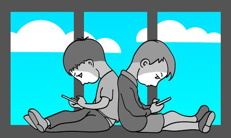 Two boys are bored at home. Everyone is looking at their smartphone. Outside, the weather is nice.