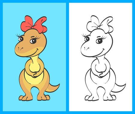 Little beige cute dinosaur girl with a red bow on her head. The second picture with a contour for coloring.