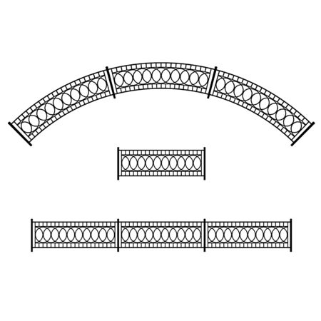 Patterned metal fence for a city street. Straight and arched shape. Isolated black object.