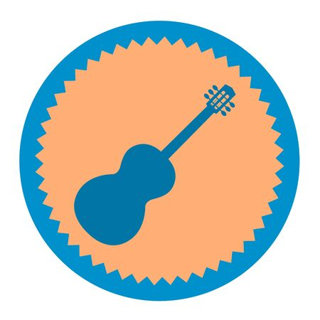 Blue silhouette of a guitar on a round yellow background.