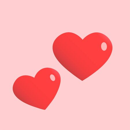 Two romantic red hearts. Pink background. Illustration