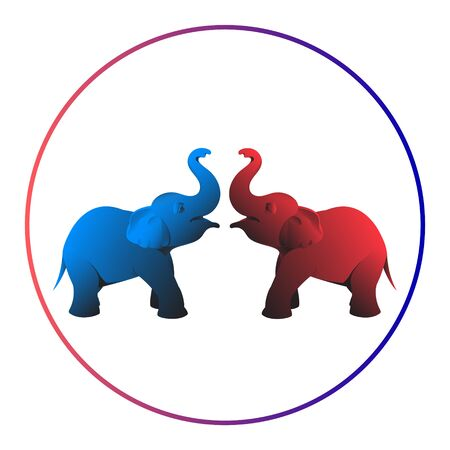 Two beautiful elephants in red and blue are facing each other. The trunks lifted up.