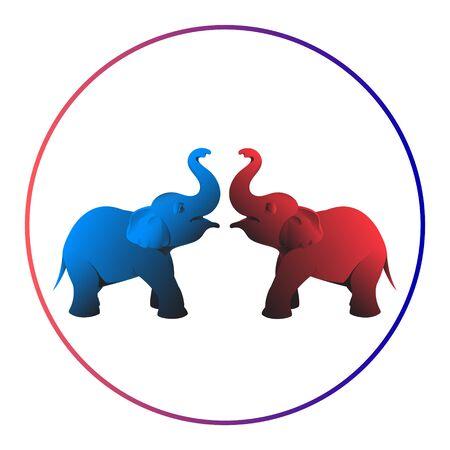 Zwei schöne Elefanten in Rot und Blau stehen sich gegenüber. Die Stämme hoben sich.