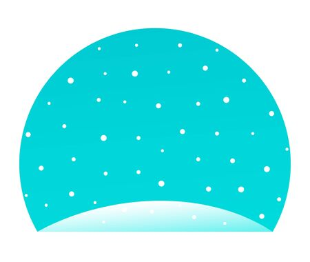 Winter snowfall with snowdrift and round blue sky. illustration for background.