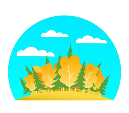 Islet of autumn forest. Yellow birch, green spruce, blue sky and clouds. Cartoon isolated illustration.