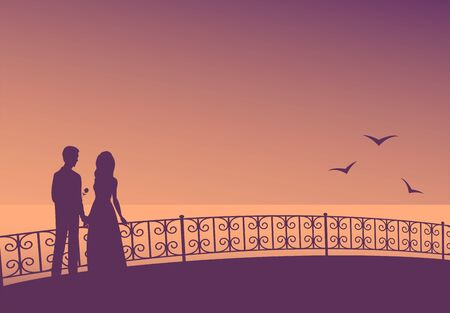 Silhouette of a couple in love on the promenade with patterned railing. Evening, calm sea and seagulls. Romantic vector illustration.