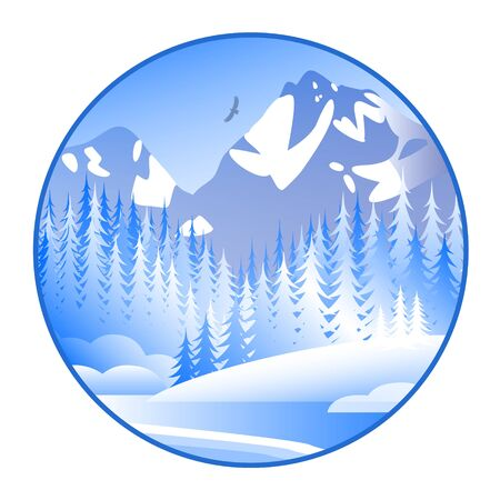 Fabulously beautiful winter landscape with forest and mountains. Wildlife with frost and snow. Round vector illustration.