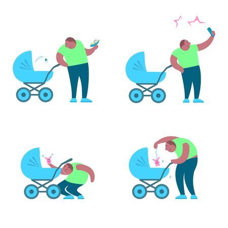 A set of four pictures. Good father with a pram. Dad is an African American reading a book, taking a selfie and playing with the baby. Vector cartoon funny illustration.