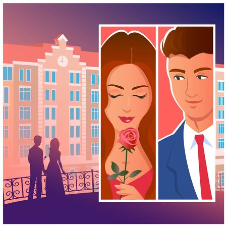 Beautiful couple in the evening city. Silhouette of lovers in the distance on the background of the building. And separately, a close-up of a man and a woman with a gift of a rose.   Vector comic book illustration.