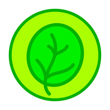 Simple round icon with a green leaf from a tree. Vector illustration.