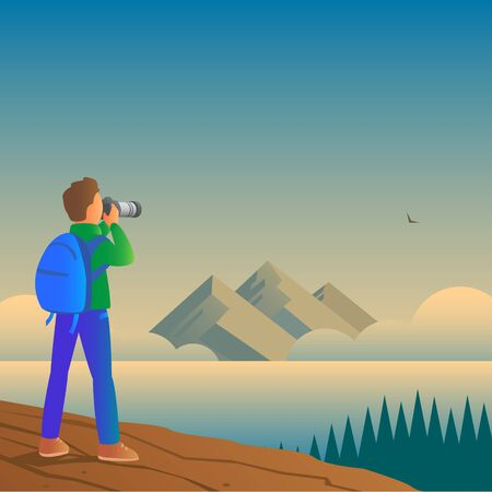 A male tourist with a backpack stands on a mountain and photographs wildlife on a camera. In the distance is a beautiful seascape. Vector illustration. Stock Illustratie