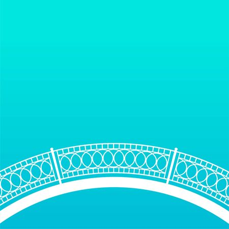 White metal bridge with patterned railing. Blue background. Vector flat illustration.