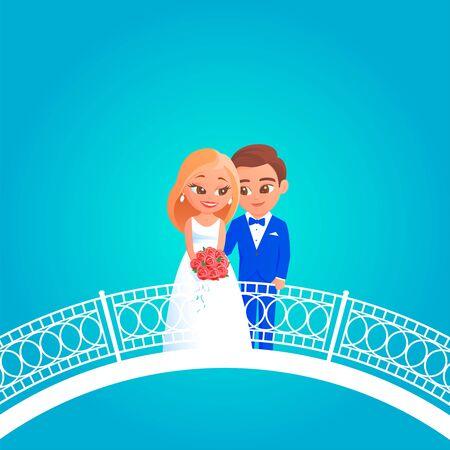 Giovani sposini dei cartoni animati il giorno delle nozze. La sposa in abito bianco con un mazzo di rose rosse, lo sposo in smoking blu. Mettiti in piedi su un ponte con motivi bianchi. Illustrazione vettoriale.