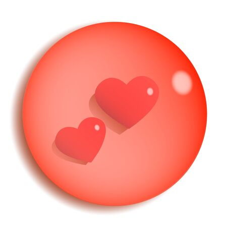 Two loving hearts inside a red transparent pebble. Vector romantic illustration.