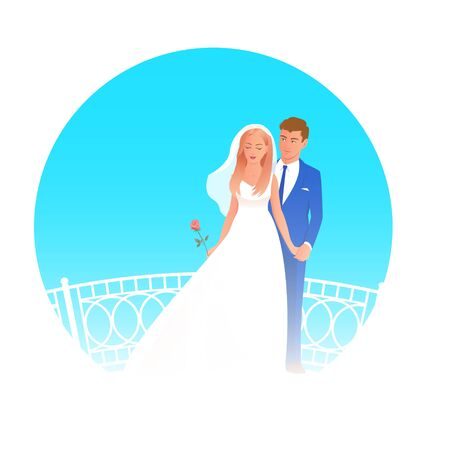 Beautiful newlywed couple in wedding attire. The bride stands with a rose, behind her the groom gently holds her hand. Vector illustration with blue background.