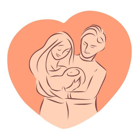 Young parents are holding a newborn baby in their arms. Lovingly look at the child. Background in the form of a heart. Vector illustration drawn by lines.