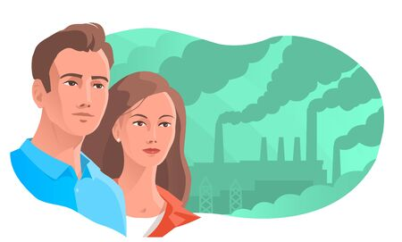 Modern man and woman on the background of smoking chimneys. Concerned about the problem of environmental pollution. Vector illustration.