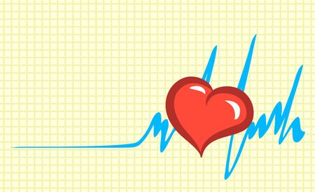 The symbolic red heart is beating actively. In the figure, love improves the cardiogram and brings it back to life. Vector isolated illustration.