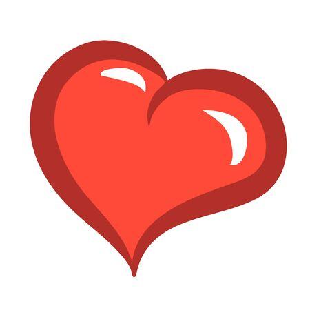 Symbolic love heart in cartoon style. Vector isolated illustration. Illustration