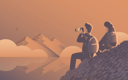 A man and a woman travel through the wild with a camera. Evening landscape by the lake with mountains and fog. An eagle flies far away. Vector illustration  イラスト・ベクター素材