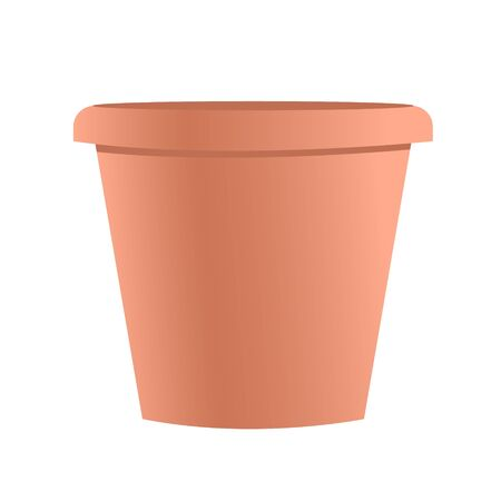 Brown empty pot without flowers. Vector isolated illustration for interior decoration.