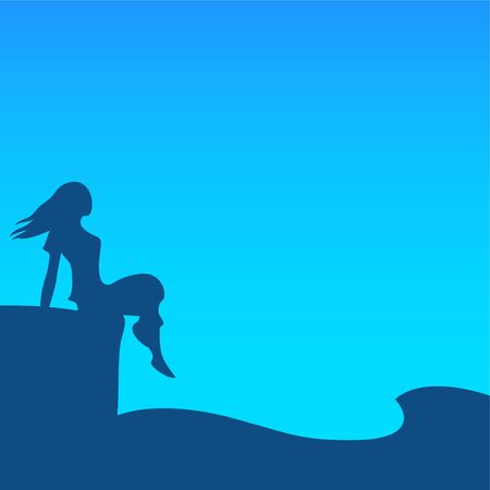 Silhouette of a young woman on the evening sea beach. The girl is sitting on the edge of the pier. Below the waves sway. Vector illustration. 일러스트