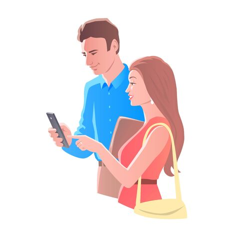 Young man and girl with bags on the way. Together they look at a smartphone and discuss their affairs. Vector isolated illustration.