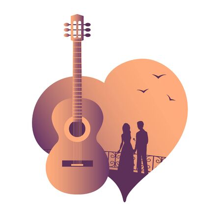 Acoustic guitar against the background of the silhouette of a couple in love with seagulls. Suitable for music and design. Vector isolated illustration.  イラスト・ベクター素材