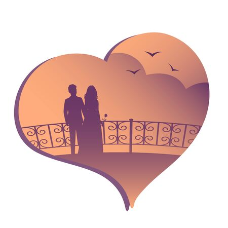 Silhouette of a couple in love on the evening promenade with seagulls. Heart shaped romantic background. Vector illustration.