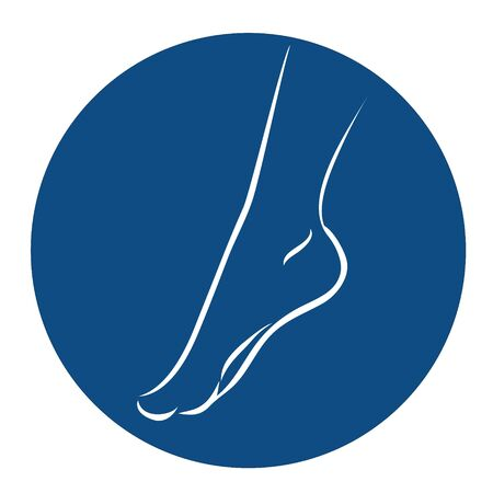 Round icon with white silhouette of a bare foot on a blue background. Female graceful leg. Vector illustration.