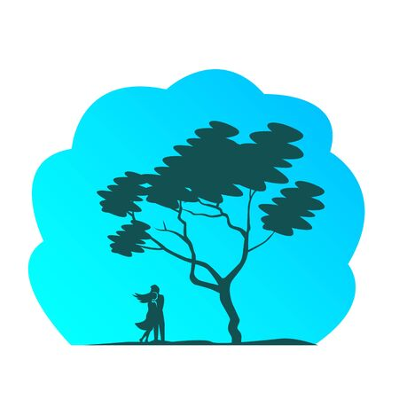 Silhouette of a loving couple in a tight hug. Near a branchy tree with foliage. Vector illustration. Ilustração