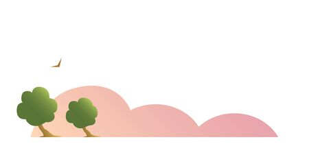 A nature landscape drawn with pink fog, trees and a bird. Vector isolated illustration.