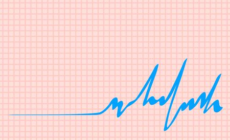 Graphic checkered background. The pulse rate of a person. Medical vector illustration.