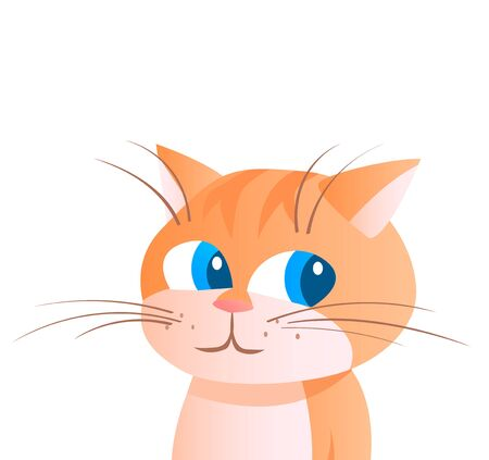 Cartoon portrait of a striped ginger cat. Vector isolated illustration. 矢量图像