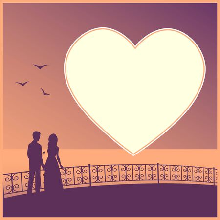 Beautiful couple on the promenade by the sea. Silhouettes of lovers in the distance. And an empty background for text in the shape of a heart. Vector illustration.