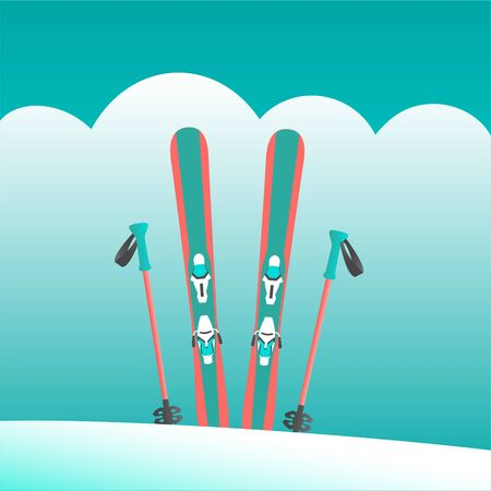 A pair of alpine skis and poles stand in a snowdrift at a resort. At the top of the mountain on a background of clouds. Vector illustration.