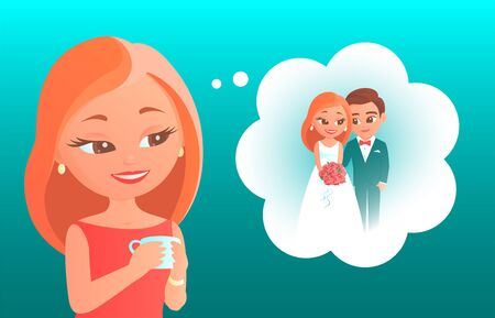 Cute cartoon girl dreams about her wedding. Represents in thoughts himself with the groom in festive dresses. Vector romantic illustration about love and happiness. Foto de archivo - 138300173
