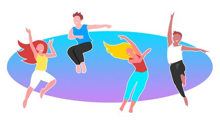 An active group of young men and girls are jumping and dancing cheerfully. Color vector illustration. Векторная Иллюстрация