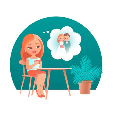 Cute cartoon girl sitting at a table in a cafe. He dreams of his future wedding with his beloved. Vector romantic illustration.
