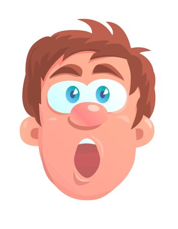 Cartoon head of a young man with a very surprised expression