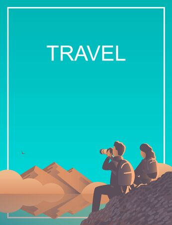 A man and a woman travel through the wild with a camera. Evening landscape by the lake with mountains and fog. An eagle flies far away. Text travel. Vector illustration
