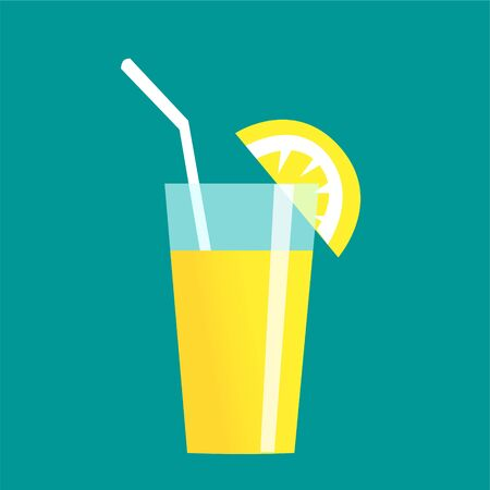 A glass of refreshing cool drink with a straw and a slice of lemon. Vector isolated illustration on a summer resort theme. Banco de Imagens - 138832108