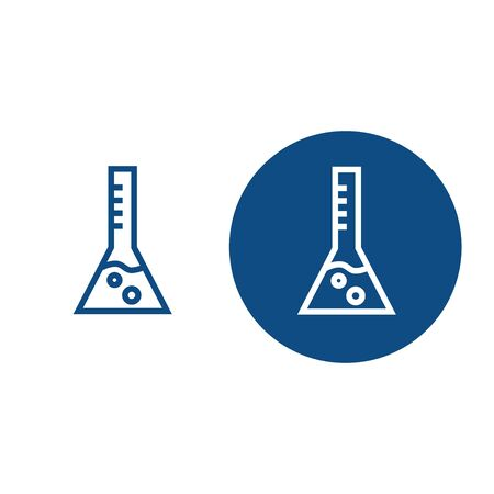 Scientific laboratory beaker with chemical reagent. Two options. Vector blue icons.