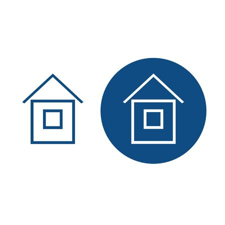 Drawn house for the main page. On a round blue background and without. Vector isolated illustration.