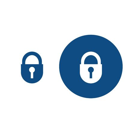 Silhouette of a closed padlock. Option in a circle and without it. Vector blue icons. Illustration