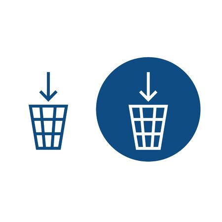 Mesh basket for waste disposal. Option in a circle and without it. Vector blue icons. Çizim