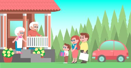 A family with a boy and gifts visit their grandparents. Arrived by car. An elderly couple joyfully greets guests on the porch of the house. Vector illustration.